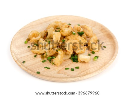 Squid fried on the wood plate