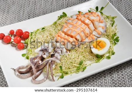 Squid salad with egg, alfalfa sprouts and sauce  - stock photo