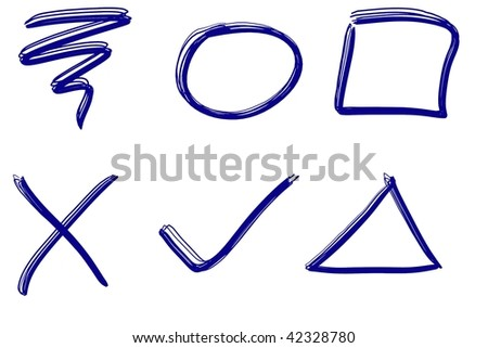 Squiggle and basic ink design shape elements in realistic blue ink. - stock photo