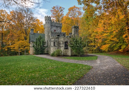 Squire's Castle was built in the 1890s by Feargus B. Squire for use as the gatekeeper's house for his future country estate,  owned by the Cleveland Ohio Metroparks and is open to the public.  - stock photo