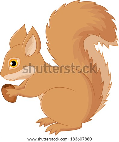 Squirrel cartoon holding nut - stock photo