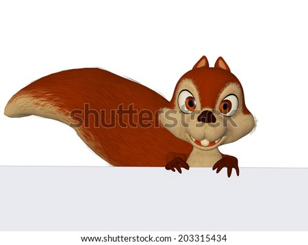 Squirrel with a  blank board - stock photo