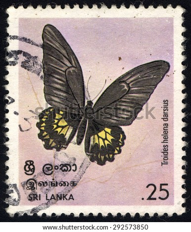 SRI LANKA - CIRCA 1978: A stamp printed in the Sri Lanka, shows Birdwing Butterfly, circa 1978 - stock photo