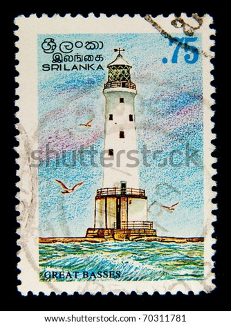 SRI LANKA - CIRCA 1970s: A stamp printed in Sri Lanka shows image of a Lighthouse Great Basses, circa 1970s
