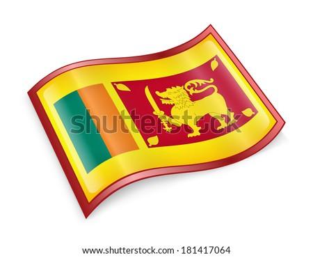 Sri Lanka Flag Icon, isolated on white background. - stock photo