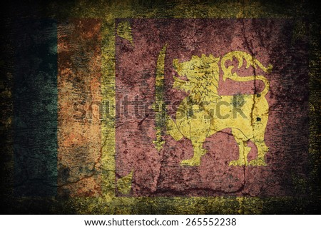 Sri Lanka flag pattern on dirty old concrete wall texture ,retro vintage style - stock photo