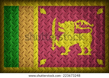 Sri Lanka flag pattern on the diamond metal plate texture ,vintage style - stock photo