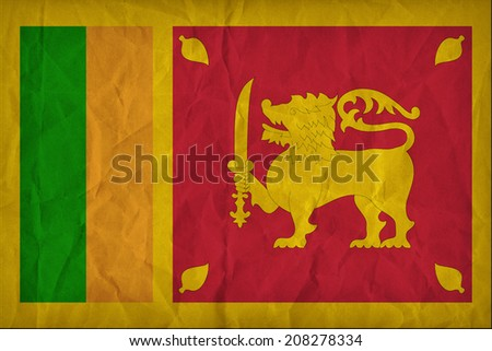 Sri Lanka flag pattern on the paper texture ,retro vintage style - stock photo