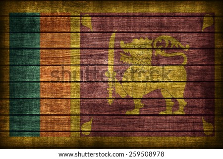 Sri Lanka flag pattern on wooden board texture ,retro vintage style - stock photo