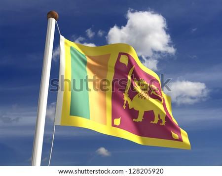 Sri Lanka flag (with clipping path) - stock photo