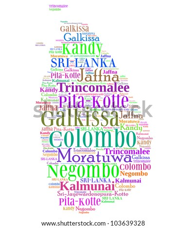 Sri Lanka map and words cloud with larger cities - stock photo