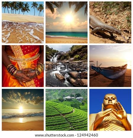 Sri Lanka scene collages - stock photo