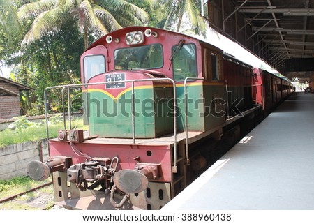 Sri Lanka train, it's an old but good. Train in Sri Lanka is one of the most comfortable way for travelling. I went there and try to take the train as much as i can. - stock photo