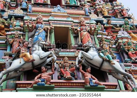 Sri Mahamariamman Temple, the oldest and richest Hindu temple in Kuala Lumpur, Malaysia - stock photo