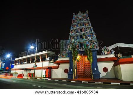 Sri Mariamman Temple at night in Singapore - stock photo