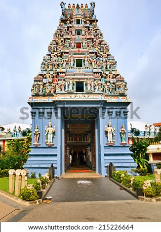 Sri Srinivasa Perumal Temple is one of the oldest temples in Singapore. - stock photo