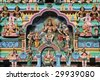 Sri Veeramakaliamman Temple in Singapore. Hindu art. Colorful sculptures. - stock photo