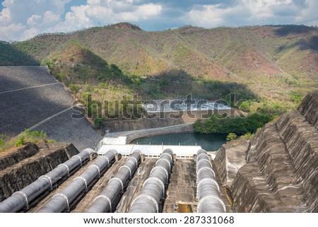 Srinagarindra Dam on  Khwae Yai River Thailand  - stock photo