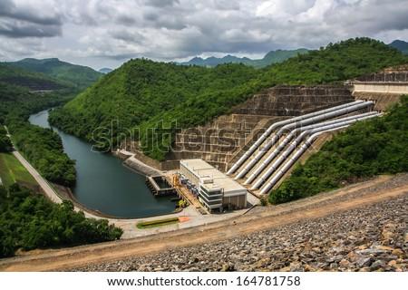 Srinagcrarin Dam in Kanchanaburi, Thailand  - stock photo