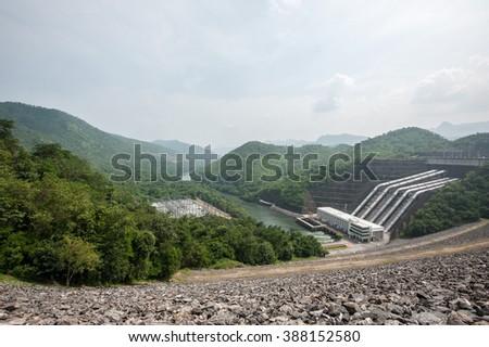 Srinakarin Dam Kanchanaburi, For electricity generating in Kanchanaburi Thailand - stock photo