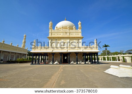 SRIRANGAPATNA, INDIA - JANUARY 31 2016: Gumbaz is a Muslim mausoleum that was originally built by Tipu Sultan in 1784 for his parents and now it is holding graves of them and Tipu Sultan himself.