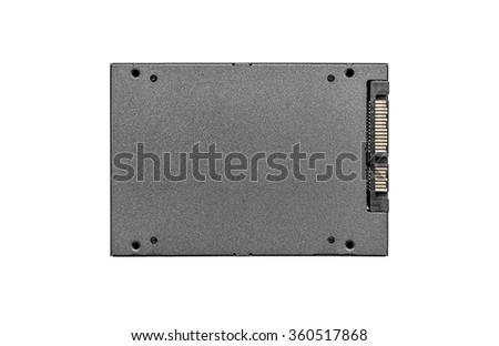SSD hard drive isolated on a white background.  Concept of cloud drive, or communications.
