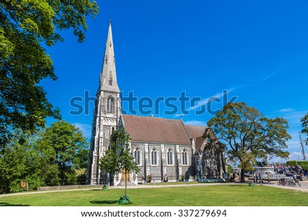 St. Alban's Church was built from 1885 to 1887  in Copenhagen, Denmark in a summer day