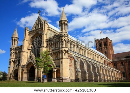 St Albans Cathedral in St Albans, Hertfordshire, England, although of a Norman structure the Cathedral's origins date back to Anglo Saxon times and is the longest cathedral in England - stock photo