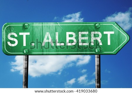 st. albert, 3D rendering, a vintage green direction sign