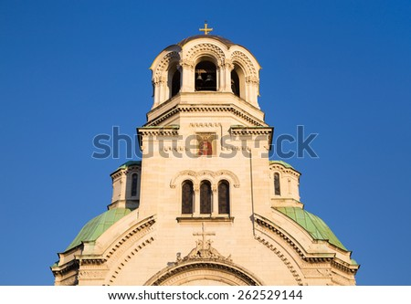 St. Alexander Nevski cathedral (detail) in Sofia - the biggest church in Bulgaria and one of the largest Eastern Orthodox cathedrals in the world. - stock photo