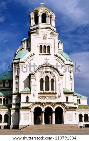 St. Alexander Nevsky Cathedral facade, Sofia, Bulgaria - stock photo