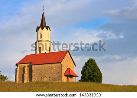 St. Ana church in Okroglo at sunset, Slovenia
