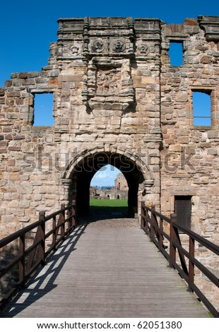 St Andrews castle entrance in Scotland - stock photo