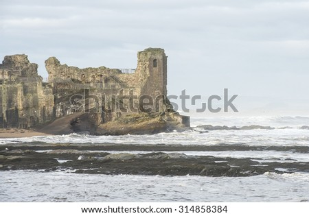 St andrews castle, with the sea in front, Fife, Scotland - stock photo