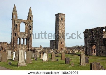 St Andrews cathedral grounds, Scotland, UK - stock photo
