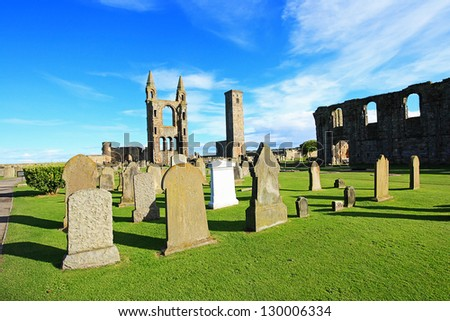 St Andrews Cathedral & St Rule?s Tower, Scotland, United kingdom - stock photo