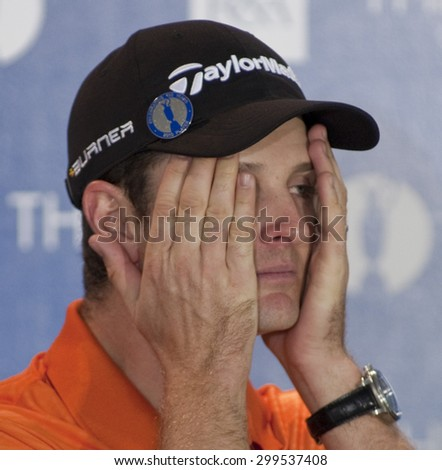 ST ANDREWS, SCOTLAND. July 14 2010:  Justin ROSE from England during his press conference on a preview day for The Open Championship   played on The Royal and Ancient Old Course - stock photo