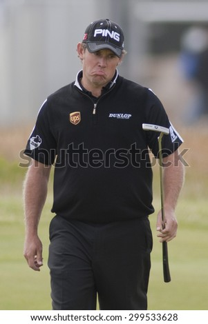 ST ANDREWS, SCOTLAND. July 18 2010: Lee WESTWOOD from England in action during the final round of The Open Championship   played on The Royal and Ancient Old Course - stock photo