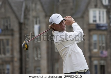 ST ANDREWS, SCOTLAND. July 18 2010: Lucas GLOVER from the USA in action during the final round of The Open Championship   played on The Royal and Ancient Old Course - stock photo