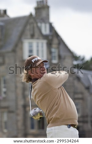 ST ANDREWS, SCOTLAND. July 18 2010: Miguel Angel JIMENEZ from Spain in action during the final round of The Open Championship   played on The Royal and Ancient Old Course - stock photo
