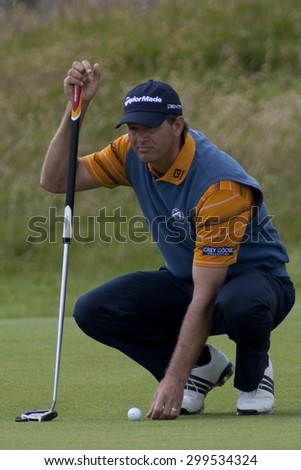 ST ANDREWS, SCOTLAND. July 18 2010: Retief GOOSEN from South Africa in action during the final round of The Open Championship   played on The Royal and Ancient Old Course - stock photo