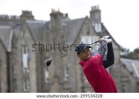 ST ANDREWS, SCOTLAND. July 18 2010: Tiger WOODS from the USA in action during the final round of The Open Championship   played on The Royal and Ancient Old Course - stock photo