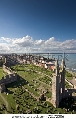 St Andrews viewed from the top of St Rules tower in the cathedral grounds. - stock photo
