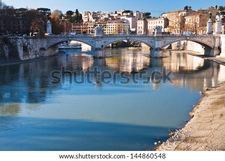 St Angel bridge on Tiber river in Rome, Italy - stock photo