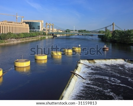 St Anthony falls on Mississippi in downtown Minneapolis - stock photo