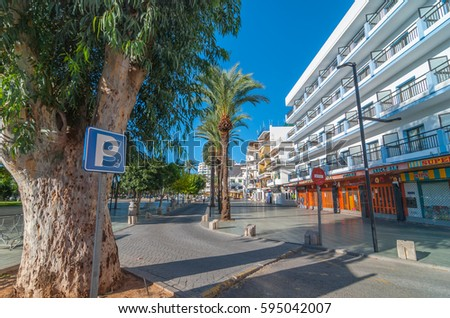 St Antoni de Portmany, Ibiza, November 6th, 2013.  Parking available for disabled & wheelchair bound people says the sign beside food shops in off-season Ibiza.