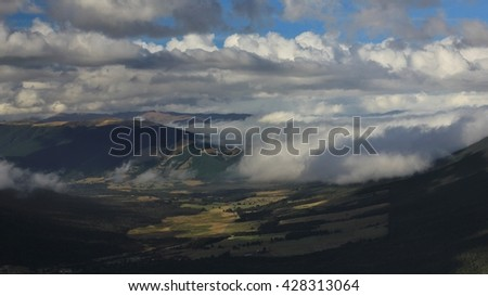 St Arnaud on a cloudy day. View from Mt Robert, New Zealand.