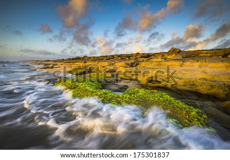 St. Augustine FL Beaches Washington Oaks State Park Coquina Rocks Beach vacation travel destination ocean seascape landscape photography in golden morning light at sunrise