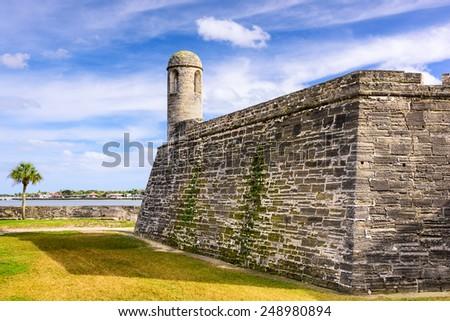 St. Augustine, Florida at the Castillo de San Marcos National Monument. - stock photo