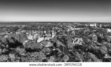 St Augustine, Florida. Beautiful aerial view on a sunny day. - stock photo